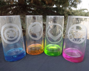 Items Similar To Set Of Four Pressed Glass Colored