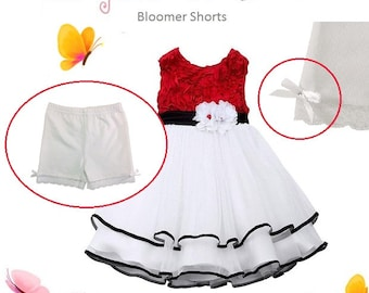 Modesty Shorts, Girls Bloomer Shorts, Undershorts for Under Dress Skirt or Uniform (Colour: White)