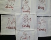 """Snowmen """"Days of the Week"""" Embroidered Dish Towels (Set of 7) - Made to Order"""