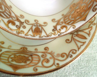 Vintage White and Gold Art Deco Style Hand Painted Noritake Japan Elegant Tea Cup and Saucer
