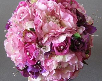 """ReadyTo Ship """"Isadora's Dream"""" Bridal Bouquet - Arficial Flower, Brooch, Crystal and Pearl Wedding Bouquet"""