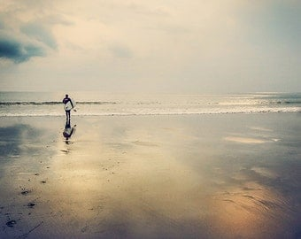 Digital download. A surfer walking towards the ocean. Square format. Image size 1706 x 1706