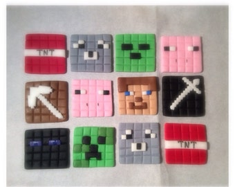 Fondant Minecraft Toppers (18 pieces)