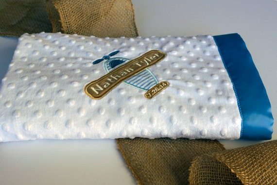 "Airplane Baby Blanket, White Dot Minky, Blue and White Stripe Flannel, Satin Binding, Personalized, Embroidered Applique, 30"" x 40"""