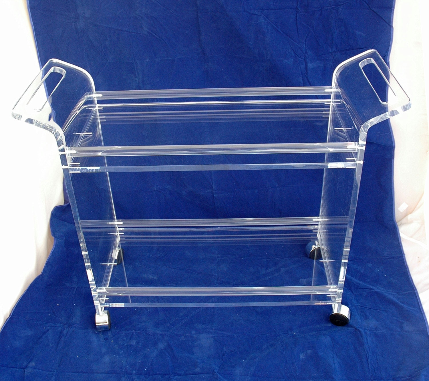 Clear Acrylic Lucite Rolling Beverage Serving Cart With