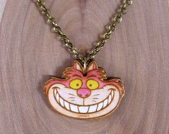 Wooden The Cheshire Cat Alice in Wonderland Necklace
