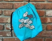 Purlie Bag - Embroidered Large Knitting Project Bag - Cool Sheep Flock - Sock Bag - Crochet