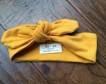 Mustard Knotted Headband cotton stretch knit baby girl/toddler girl