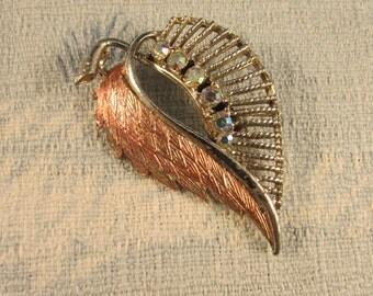 1950s silver-tone leaf brooch, Aurora Borealis stones & copper tone detail