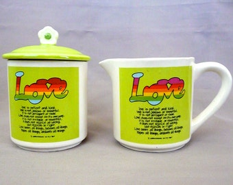 Love Bible Verse Cream and Sugar Set