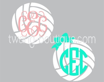 Volleyball and Bow Monogram Sticker ~  Custom Decal ~ Volley Ball