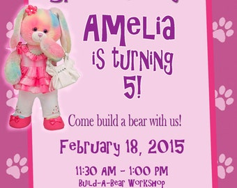 Personalized Customized Build A Bear Birthday Invitation - Pink with Bunny!
