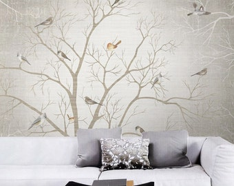 Bird Wallpaper Mesmerizing Bird Wallpaper  Etsy Decorating Design
