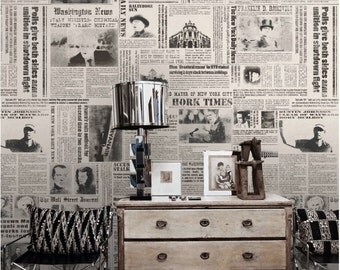 Newspaper Wallpaper New York Times Nostalgic Wall Art Black & White Poster Wall Covering Vintage Photos Wall Murals
