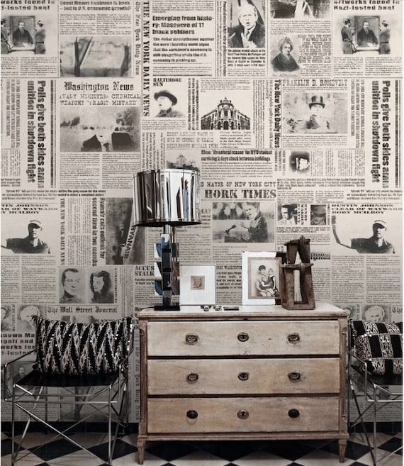 journal papier peint new york times nostalgique wall art noir. Black Bedroom Furniture Sets. Home Design Ideas