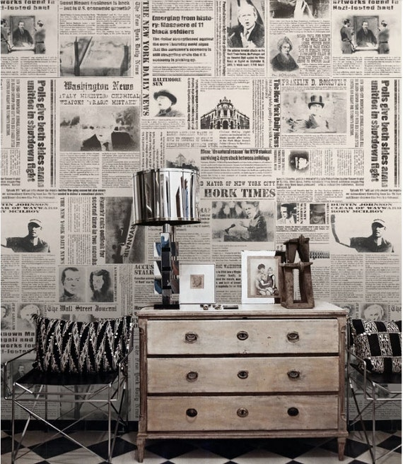 zeitung tapete new york times nostalgische wand art schwarz. Black Bedroom Furniture Sets. Home Design Ideas