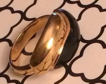Costume Vintage Golden Onyx Ring Size 7