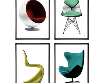 Mid-Century Chairs Group of 4 Pop Art Prints Modernist Modernism