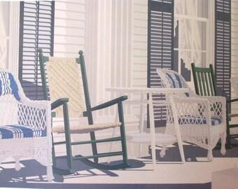 Vintage art print litho poster NOS MARGARET BABBITT Bryn Mawr Nantucket porch copyright 1985