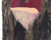 "red peach black gold heart monoprint original print original art wall art ""distressed"""