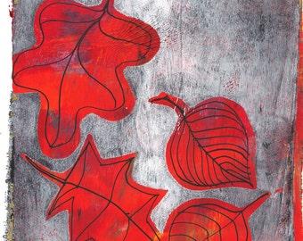 "Orange red autumn leaves monoprint grey original print original art ""dance"""