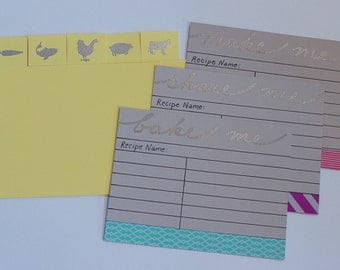 Recipe Card Dividers - Protein Dividers - Chicken/Beef/Pork/Fish/Veggie Recipes - Made to Order