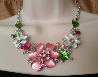 metal necklace/ spring flowers necklace/ colorful necklace/ necklace and earring set/ pink necklace/ white necklace/ green necklace/