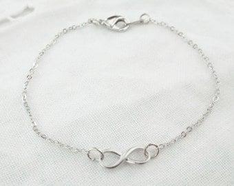 Bracelet Infinity silver Eternity Bridesmaid gift