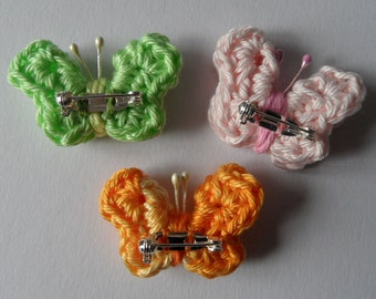 Small crocheted Butterfly with brooch pin