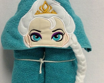 Queen or Princess Hooded Towel,Applique Hooded Towel,Personalized Hooded Towel,Hooded Bath Towel,Birthday gift,Girl Hooded Towel
