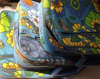 Bulk lot of three vintage retro fabric 1970's suitcases flower power overnight small cases wedding