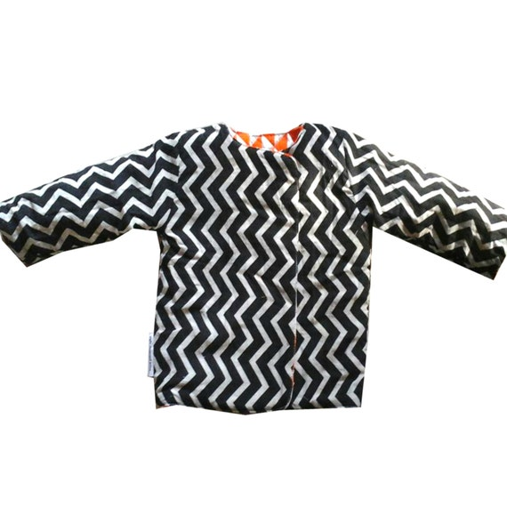 Handmade cotton quilted reversible jacket (kids) - Unisex (Orange/ Black & White chevron) Bohemian Chic Hipster Childrens Clothing