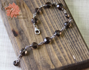 Smokey Quartz Gemstone Bracelet, Sterling Silver and Faceted Stones, Brown