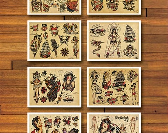 Sailor Jerry Military 8 Page Tattoo Flash Set #2