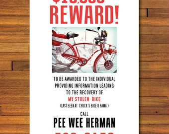 Pee Wee Herman Stolen Bicycle Poster