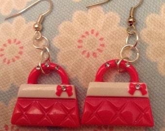 Pink handbag earrings