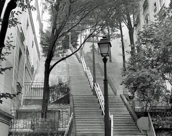 France Photography, Paris Photography, Black and White, Wall Art, Large Art Print, Montmartre Stairs, 8 x 10 Print, 20 x 24 Art, Paris Decor