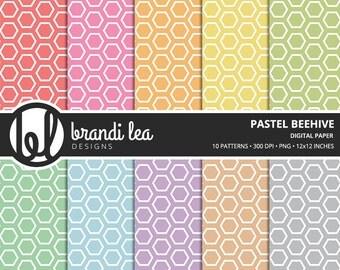 Pastel Beehive Digital Paper - Digital Download - 300 DPI - 12x12 Inches - PNG