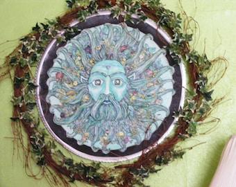Celtic painting, Greenman painting,Earthspirit painting,Nature painting,fantasy painting,Antique painting