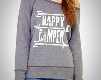 Happy camper sweater. Off the shoulder sweatshirt.