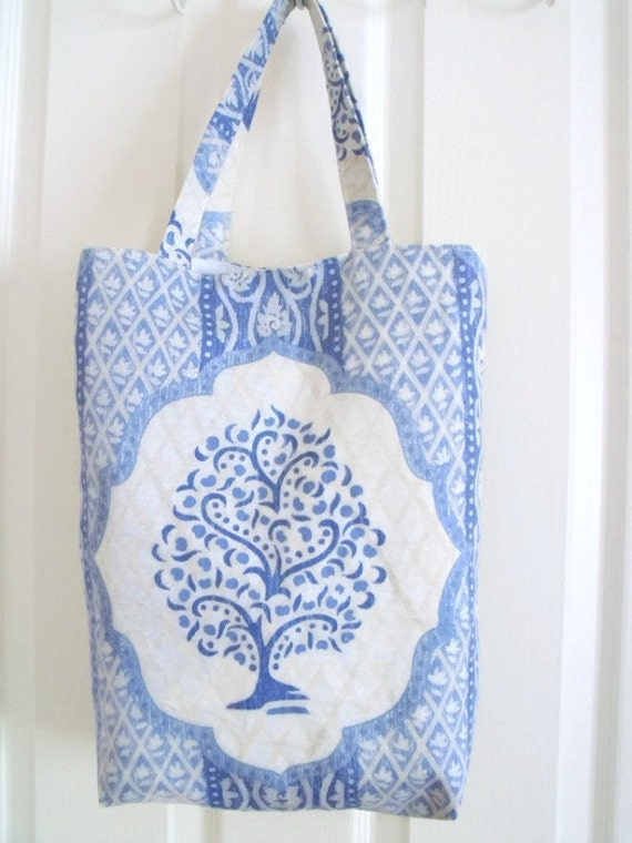 blue shopping bag, tree shopper tote bag for holidays, cotton carry all, cream and blue olive tree fabric, slight seconds