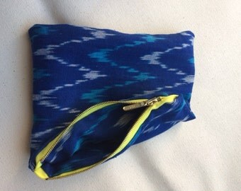 Fully Lined Zippered Pouch in blue IKAT