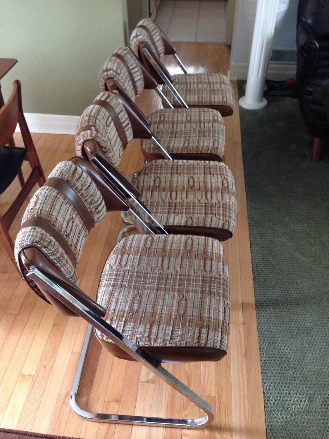 sale vintage fabric and chrome dining chairs set of 5 brown
