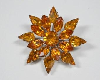 Vintage Coro Rhinestone Brooch Coro Jewelry Golden Rhinestone Pin Brooch Signed Coro Vintage Jewelry Vintage Coro Vintage Pin