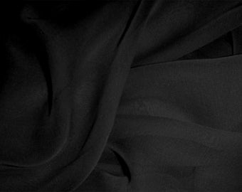 "Pure Silk Chiffon in BLACK fabric 138 cm (54"") wide medium weight available by the metre"