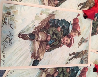 Christmas Tags, Vintage Clapsaddle, Boys On Sled Image Tags, Red Ribbon
