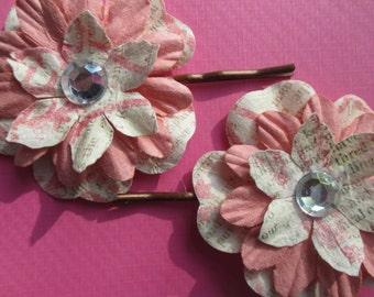 Pink flower bobby pins-Kids hair pins-book print hair clips-Storybook hair pins-little girls hair clip-flower girl-Wedding accessories-cute