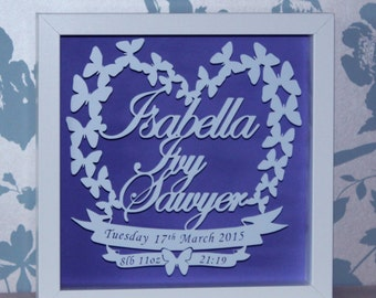 Personalised Shadow Framed New Baby ButterflyPaper Cut