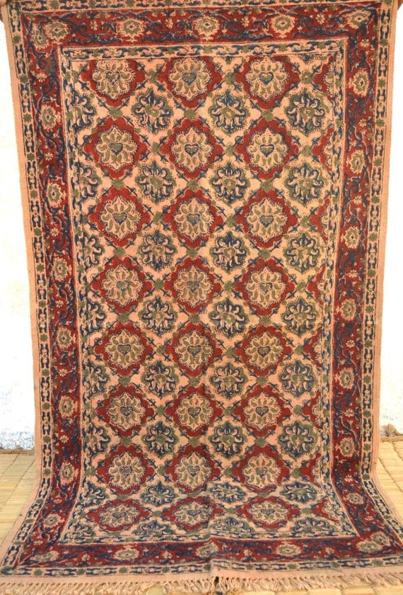 floral rug indian block print 3x5 rug woven by