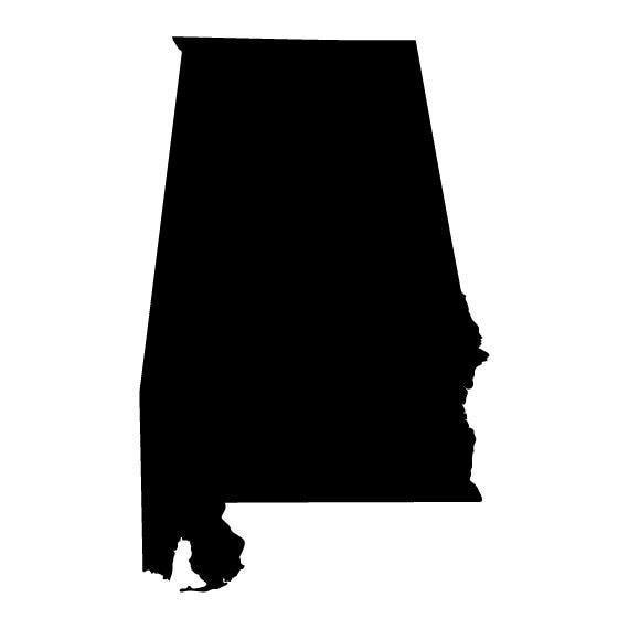 Alabama State Outline Die-Cut Decal Car Window Wall Bumper